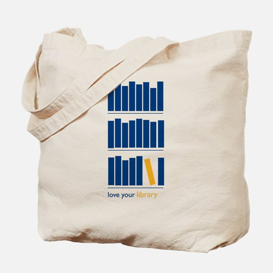 Love Your Library (blue art) Tote Bag