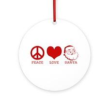 Peace Love Santa Ornament (Round)