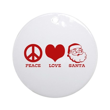 Peace Love Santa Ornament (Round)