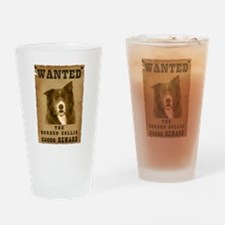 """Wanted"" Border Collie Drinking Glass"