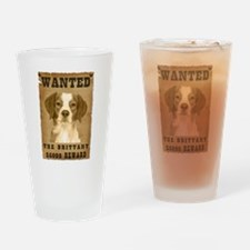 """Wanted"" Brittany Drinking Glass"