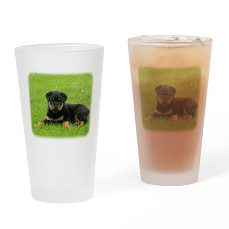 Rottweiler puppy 9W025D-053 Drinking Glass
