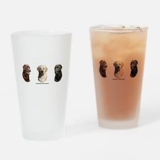 Labrador Retrievers Drinking Glass