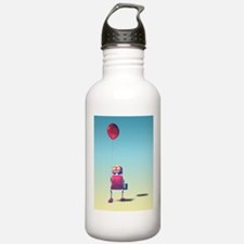 Little Red Birthday Robot 3 Water Bottle