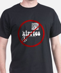 No Hippies Black T-Shirt