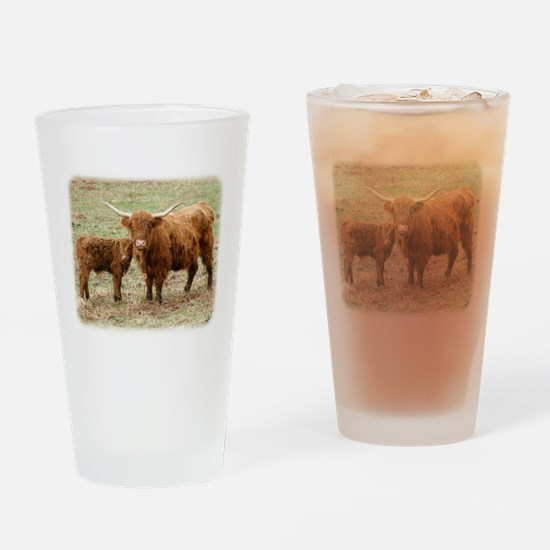 Highland Cow and calf 9Y316D- Drinking Glass