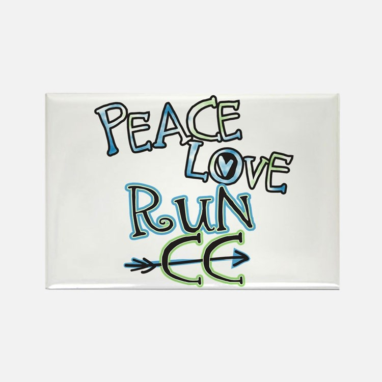 Peace Love Run CC Rectangle Magnet
