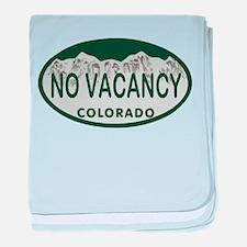 No Vacancy Colo License Plate baby blanket