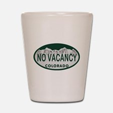 No Vacancy Colo License Plate Shot Glass