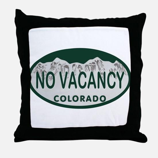 No Vacancy Colo License Plate Throw Pillow