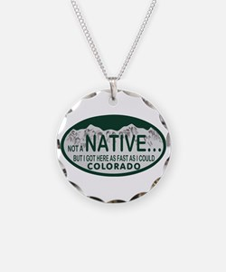 Not a Native Colo License Plate Necklace