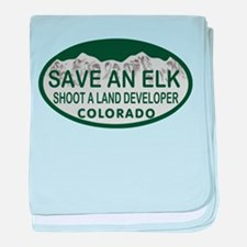 Save an Elk Colo License Plate baby blanket