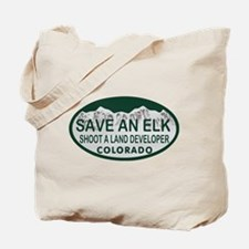 Save an Elk Colo License Plate Tote Bag