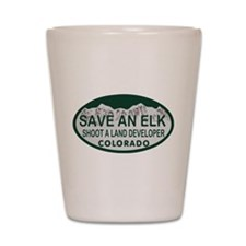 Save an Elk Colo License Plate Shot Glass