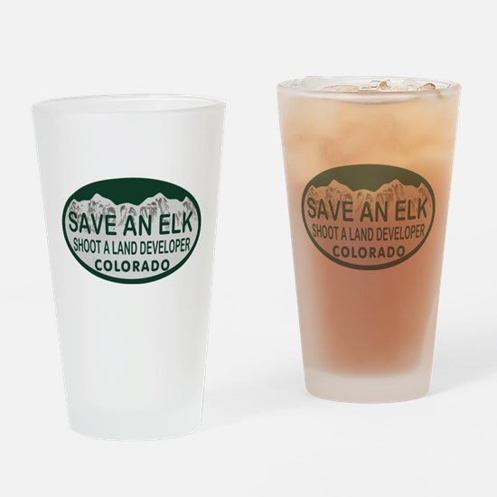 Save an Elk Colo License Plate Drinking Glass