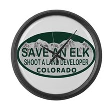 Save an Elk Colo License Plate Large Wall Clock