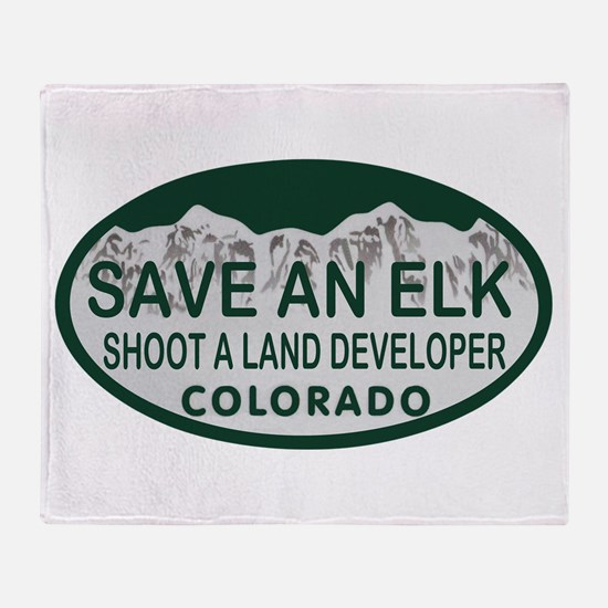 Save an Elk Colo License Plate Throw Blanket