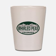 Whirled Peas Colo License Plate Shot Glass