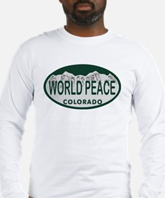 World Peace Colo License Plate Long Sleeve T-Shirt