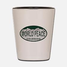 World Peace Colo License Plate Shot Glass