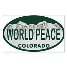 World Peace Colo License Plate Decal