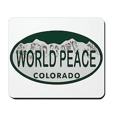 World Peace Colo License Plate Mousepad