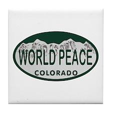 World Peace Colo License Plate Tile Coaster