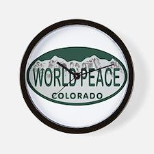 World Peace Colo License Plate Wall Clock