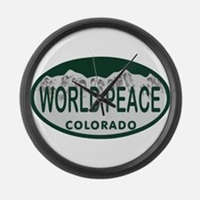 World Peace Colo License Plate Large Wall Clock