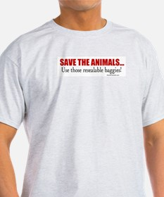 Save the Animals (with baggies) Ash Grey T-Shirt