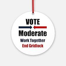 Vote Moderate Ornament (Round)
