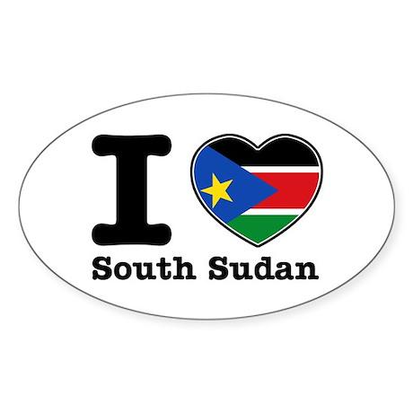 I love South Sudan Sticker (Oval 10 pk)