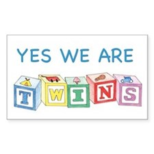 Yes We Are Twins Rectangle Decal