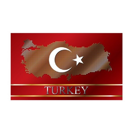 Turkey Map and Turkish Flag 38.5 x 24.5 Wall Peel