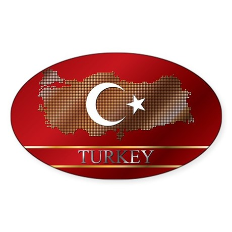 Turkey Map and Turkish Flag Sticker (Oval 50 pk)