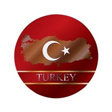 "Turkey Map and Turkish Flag 3.5"" Button (100"