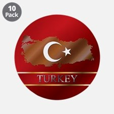 """Turkey Map and Turkish Flag 3.5"""" Button (10 p"""
