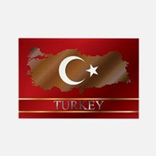 Turkey Map and Turkish Flag Rectangle Magnet