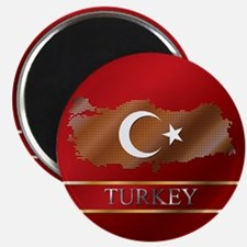"""Turkey Map and Turkish Flag 2.25"""" Magnet (10"""