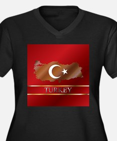 Turkey Map and Turkish Flag Women's Plus Size V-Ne