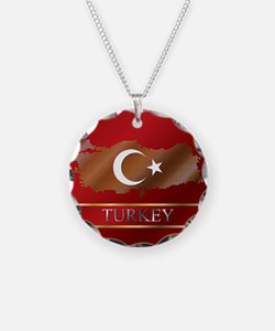 Turkey Map and Turkish Flag Necklace