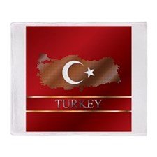 Turkey Map and Turkish Flag Throw Blanket
