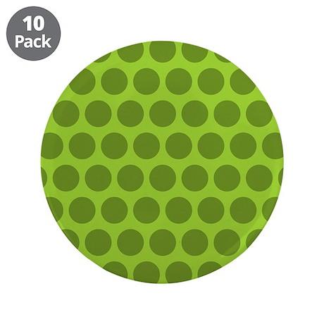 "Dark Green Polka Dots 3.5"" Button (10 pack)"