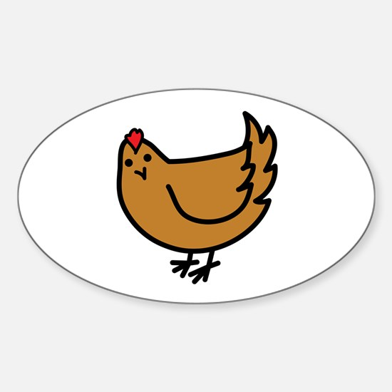 Cute Chicken Oval Decal