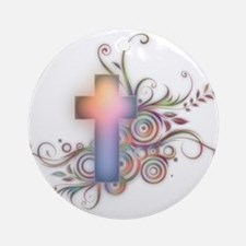 Circles N Swirls Cross Ornament (Round)