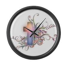 Circles N Swirls Cross Large Wall Clock