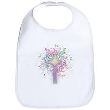 Pastel Floral Cross Bib