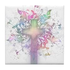 Pastel Floral Cross Tile Coaster