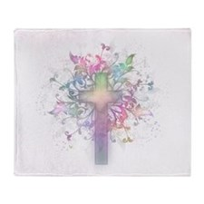 Pastel Floral Cross Throw Blanket