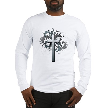 Floral Cross Graphic Long Sleeve T-Shirt
